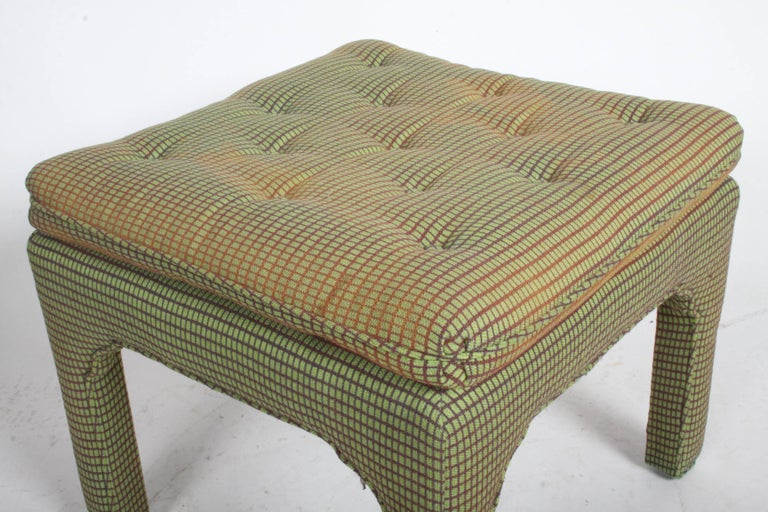 Upholstery Pair of Billy Baldwin Style Fully Upholstered Ottomans  For Sale