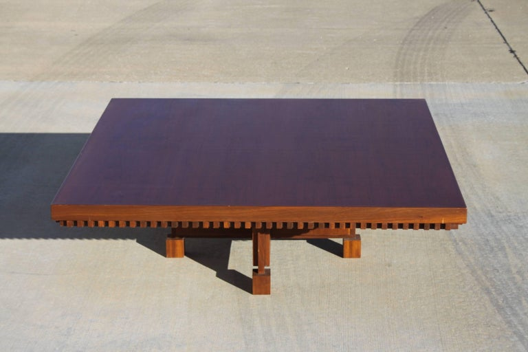 Architect Fred M. Kemp Custom Coffee Table in the style of Frank Lloyd Wright For Sale 2