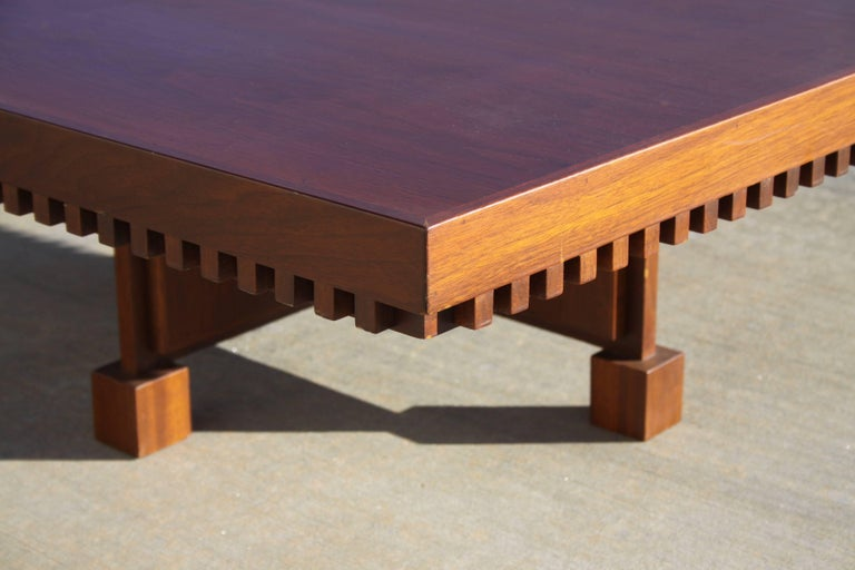 Stained Architect Fred M. Kemp Custom Coffee Table in the style of Frank Lloyd Wright For Sale