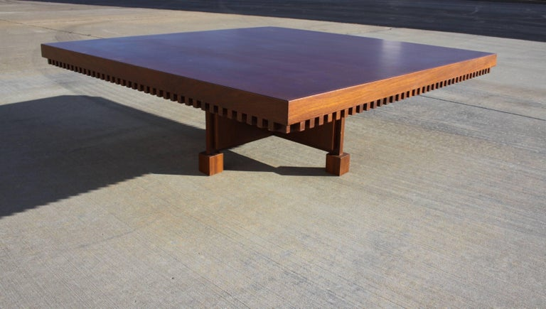 Mid-20th Century Architect Fred M. Kemp Custom Coffee Table in the style of Frank Lloyd Wright For Sale