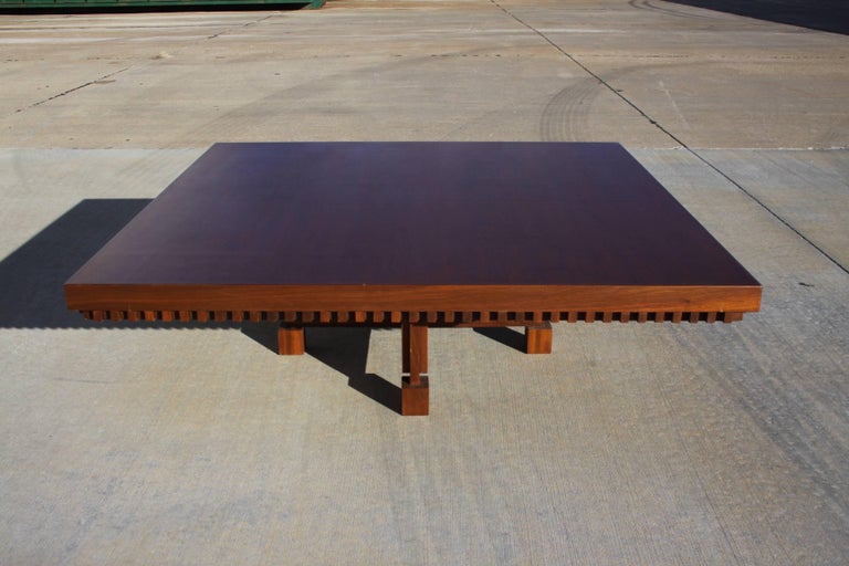 Architect Fred M. Kemp Custom Coffee Table in the style of Frank Lloyd Wright For Sale 1