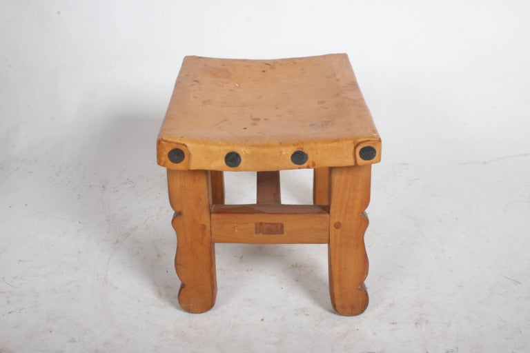 Mid-20th Century Vintage Mexican Leather Stools with Studs For Sale