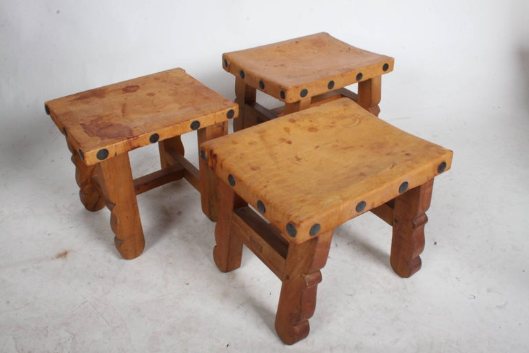 Vintage Mexican Leather Stools with Studs For Sale 1