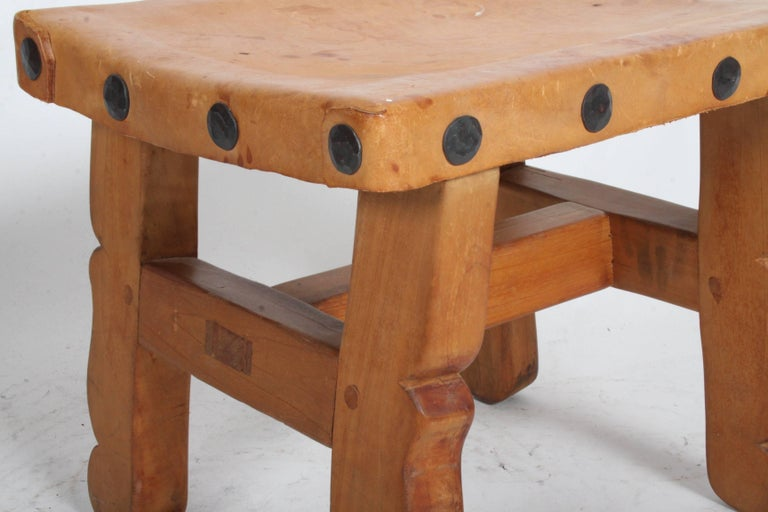 Vintage Mexican Leather Stools with Studs In Good Condition For Sale In St. Louis, MO