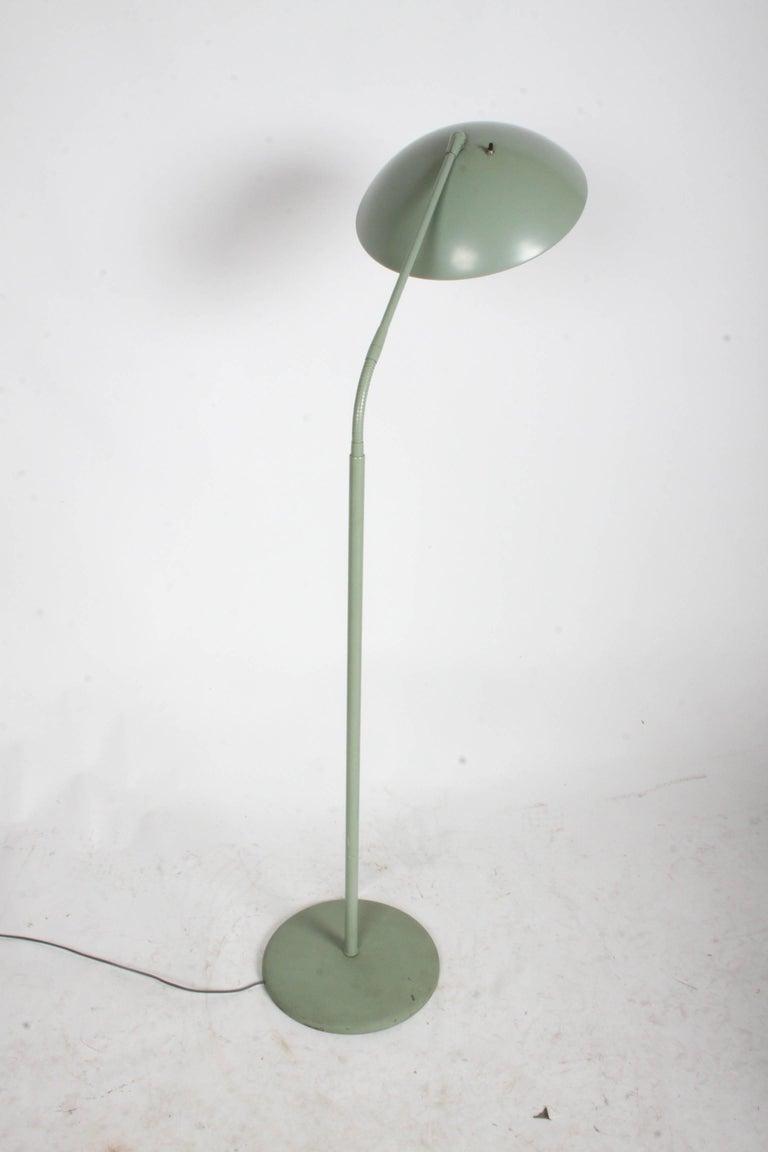 Painted Kurt Versen Gooseneck Adjustable Floor Lamp  For Sale