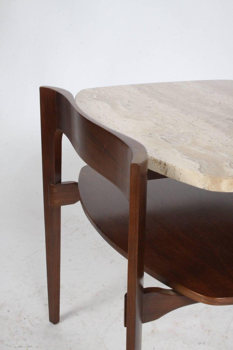 Travertine Pair of Bertha Schaefer Italian End Tables For Sale
