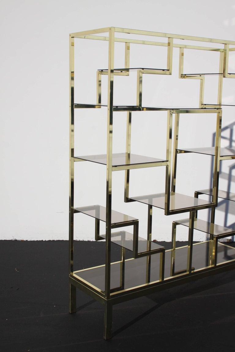 Plated 1970s Large Brass Italian Étagère with Geometric Design For Sale
