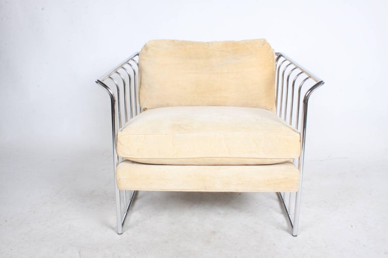 Pair of Milo Baughman Style Chrome Cube Lounge Chairs 2