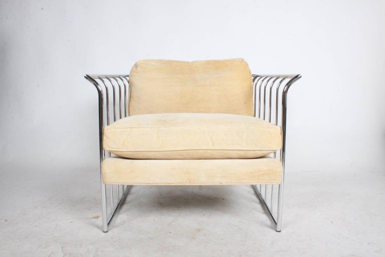 Mid-Century Modern Pair of Milo Baughman Style Chrome Cube Lounge Chairs For Sale