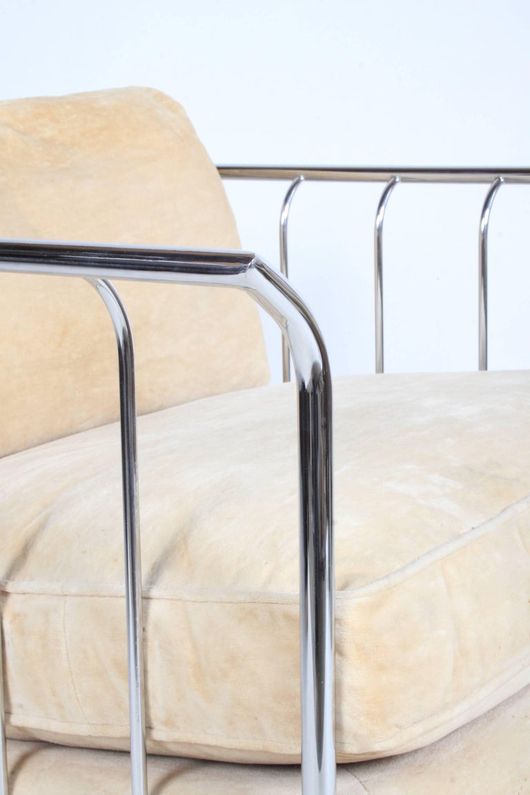 Pair of Milo Baughman Style Chrome Cube Lounge Chairs 7