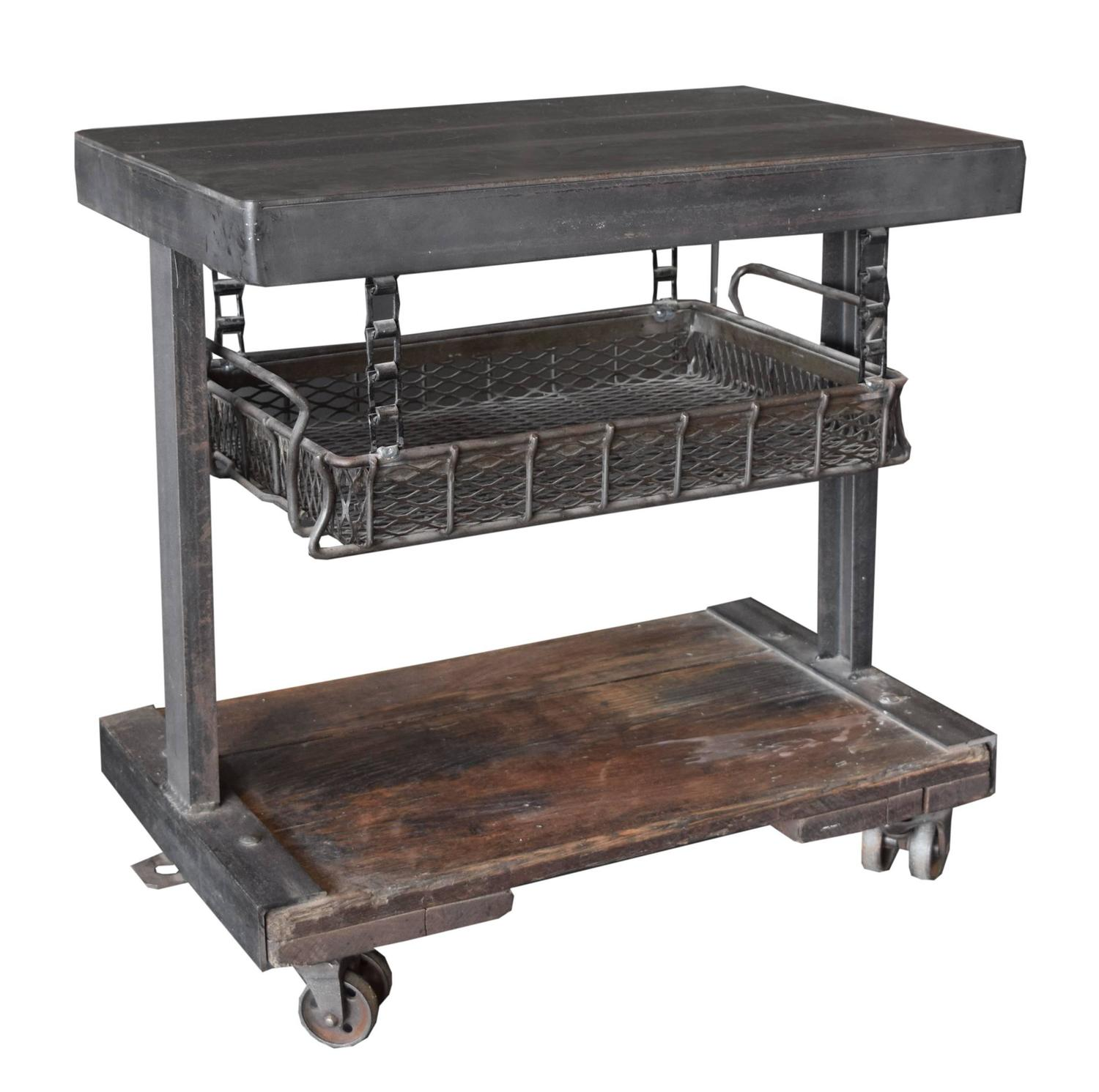 American industrial side table with tray at 1stdibs for Tray side table