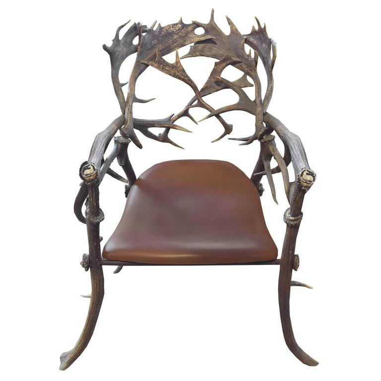 19th Century Bavarian Hunting Lodge Armchair For Sale