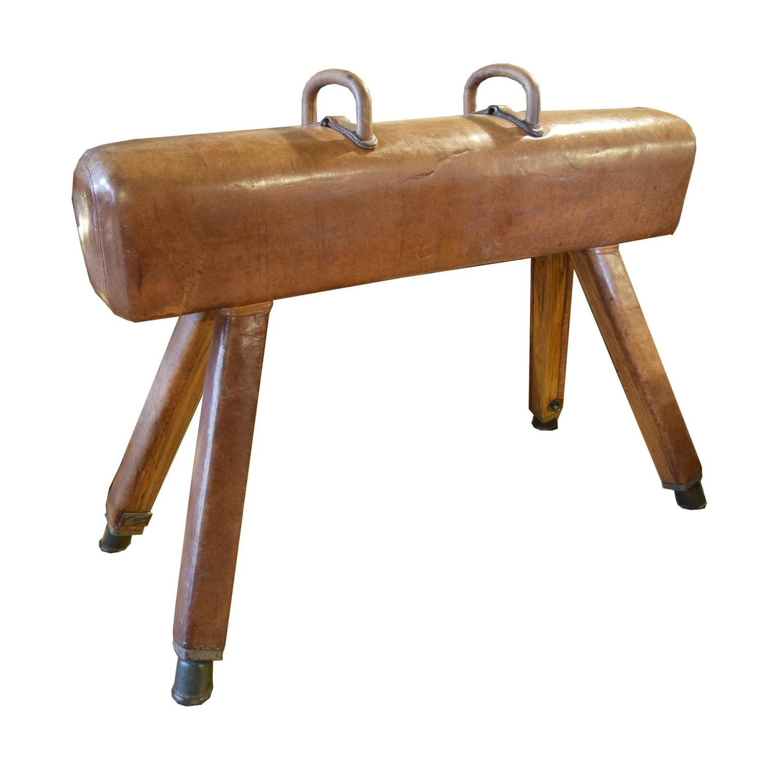 Wood and leather pommel horse at stdibs