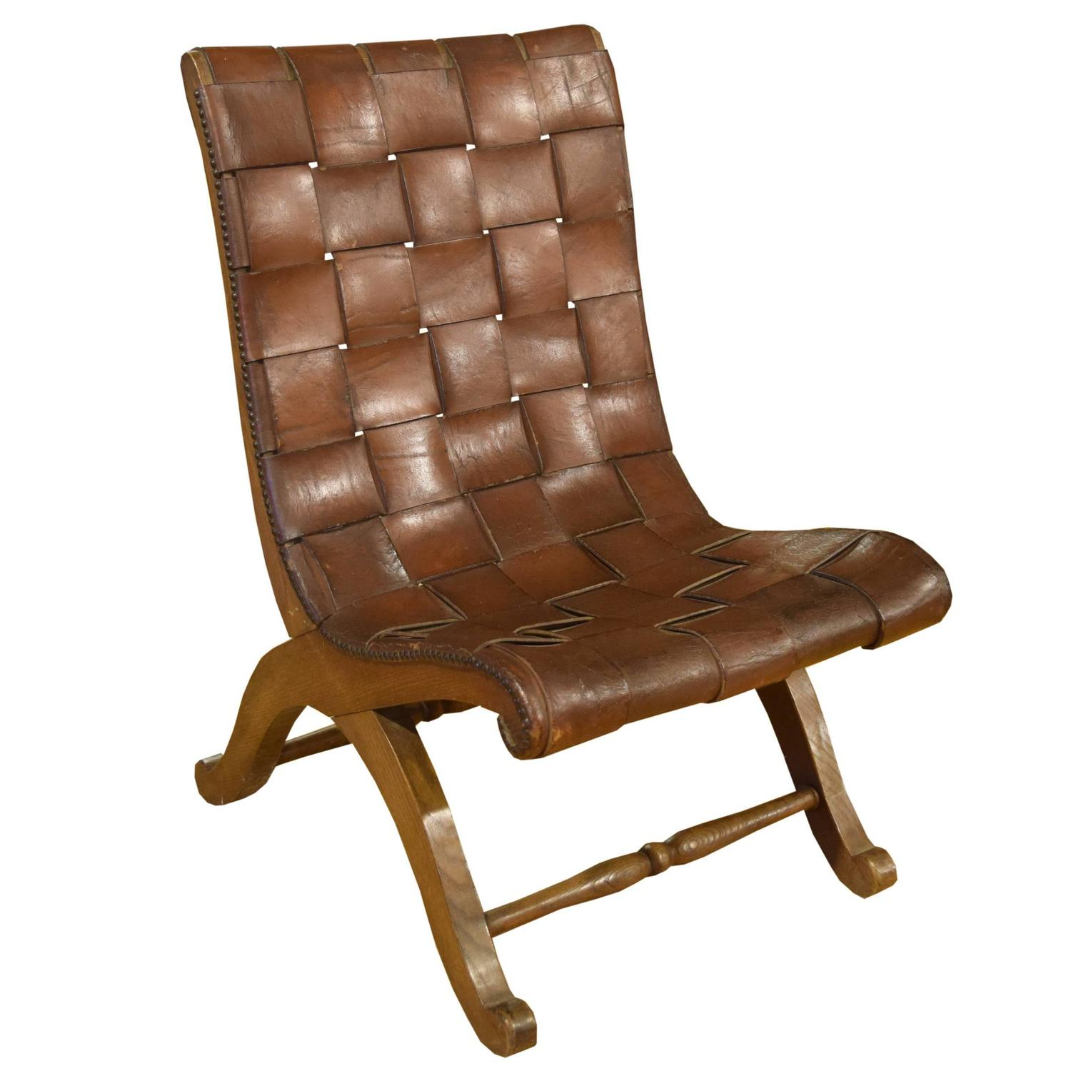 French Woven Leather Chair For Sale at 1stdibs