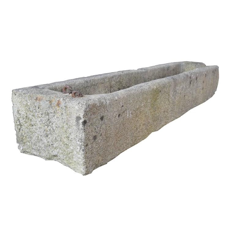 High Stone Wall Garden With Rectangular French Marble: Stone Trough For Sale At 1stdibs