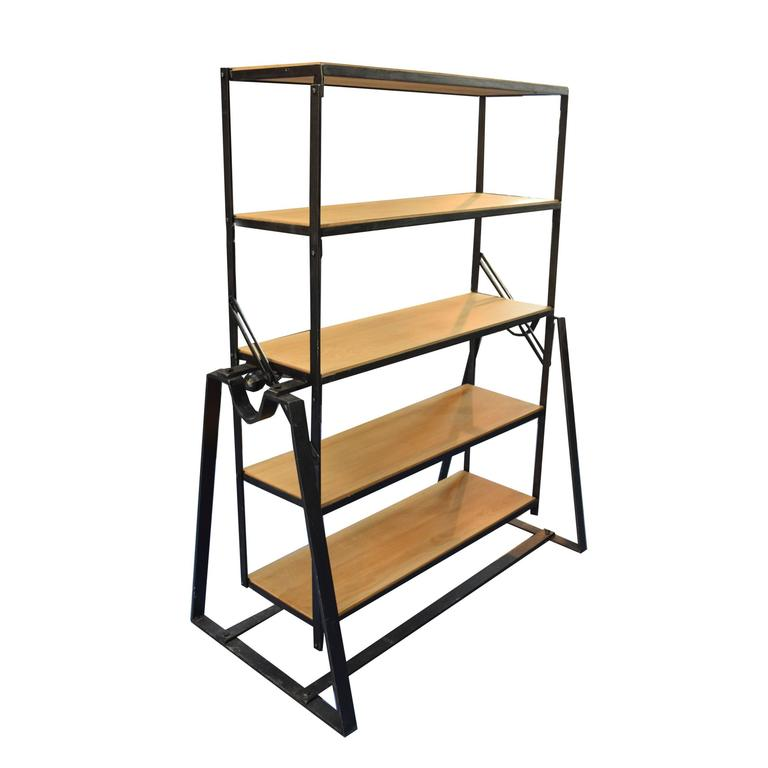 Charmant A Unique French Five Tier Bookshelf With Open Wood Shelves And An  Industrial Metal Frame