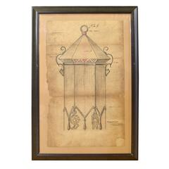 Framed Original Working Drawing from the Estate of Jose Thenee