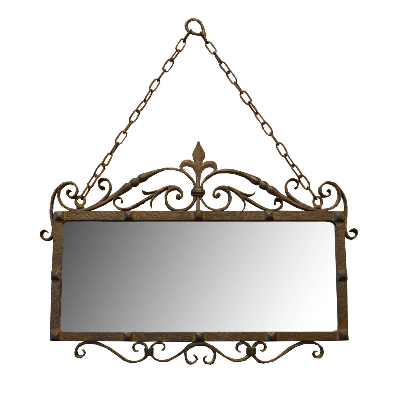 Wrought iron mirror form the estate of jose thenee at 1stdibs for Wrought iron mirror