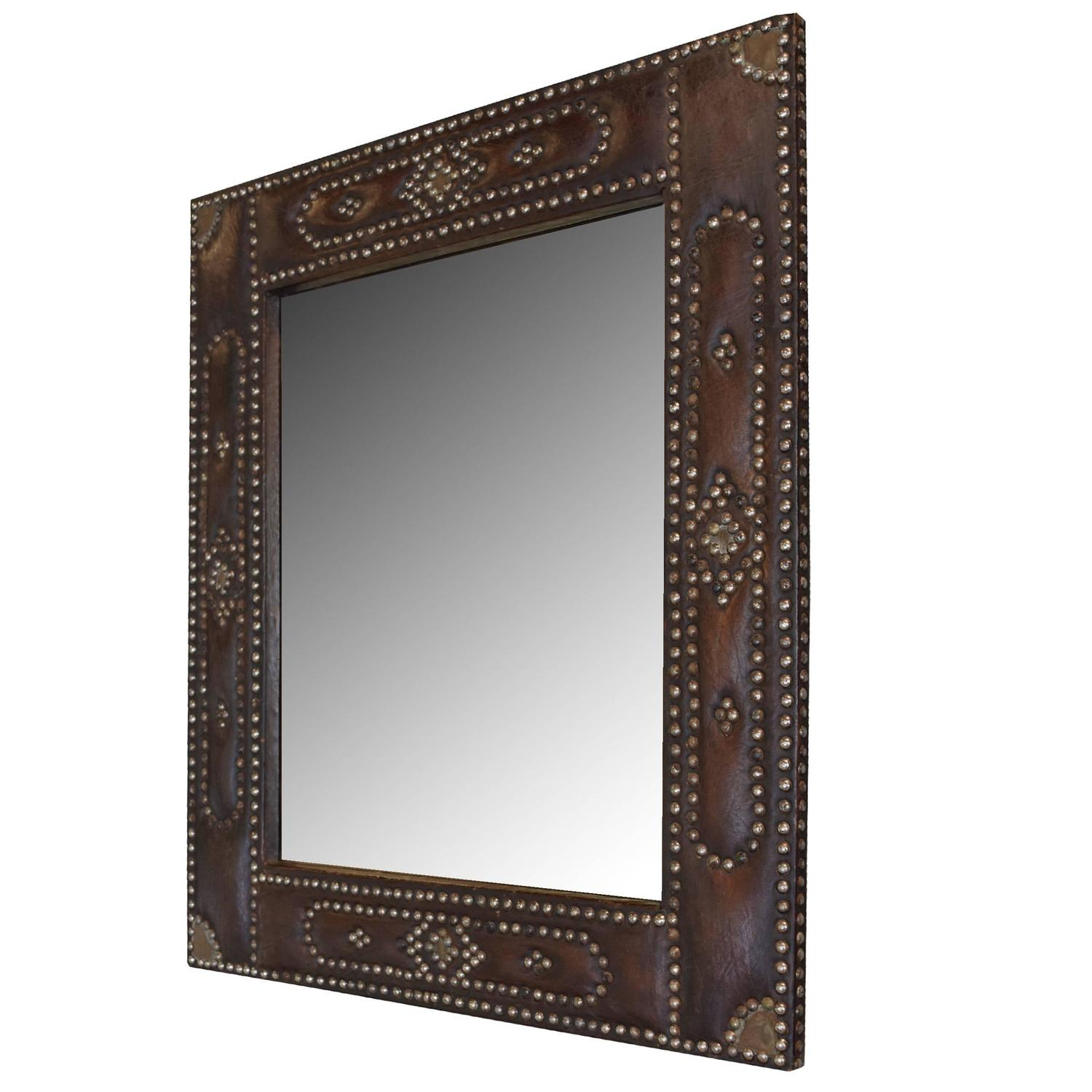 french leather framed mirror at 1stdibs