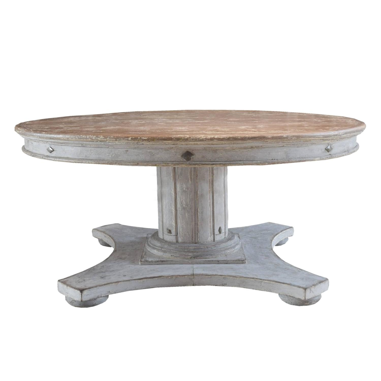 Italian round wood dining table with leaf at 1stdibs for Dining room table round with leaf