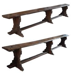 Pair of Italian Three-Leg Benches