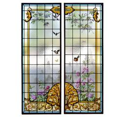 English Two-Panel Art Glass Window