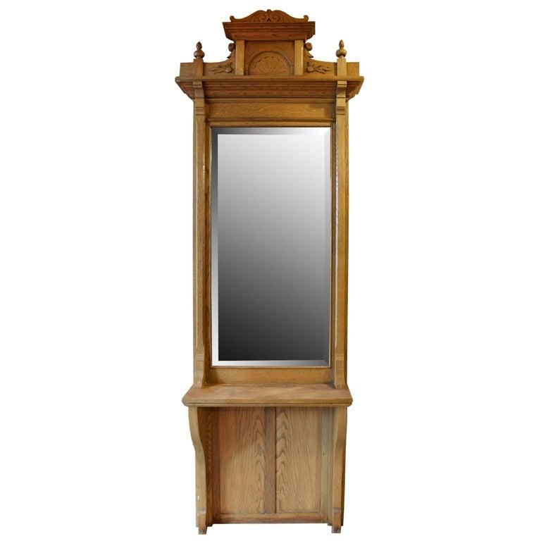 American Oak Pier Mirror For Sale