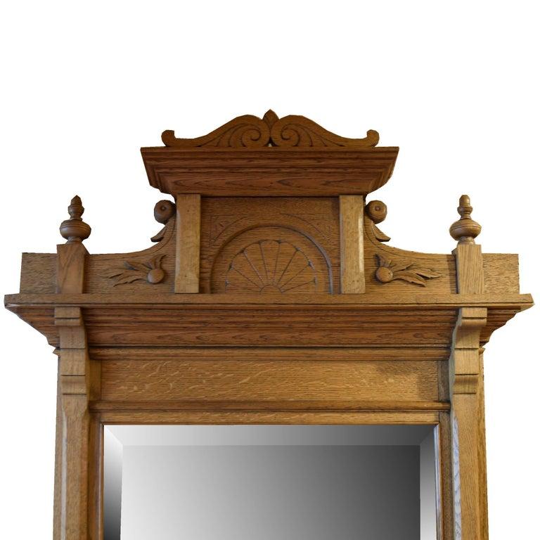 19th Century American Oak Pier Mirror For Sale