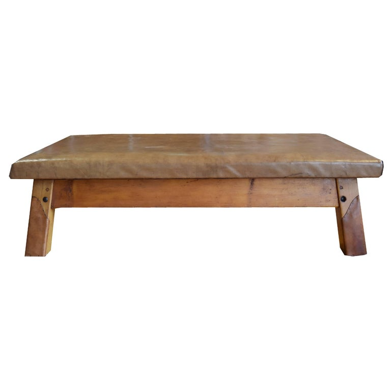 Wood and Leather Vaulting Bench For Sale