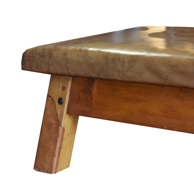 Czech Wood and Leather Vaulting Bench For Sale
