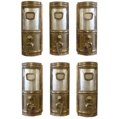Set of Six Brass and Glass Coffee Bean Dispensers