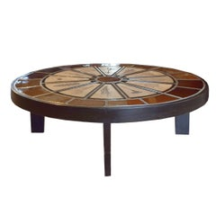 French Tile and Wood Coffee Table by Roger Capron