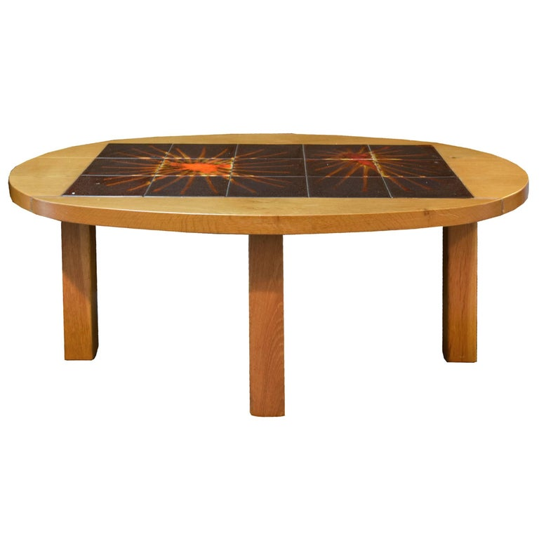 french wood and tile coffee table for sale at 1stdibs. Black Bedroom Furniture Sets. Home Design Ideas