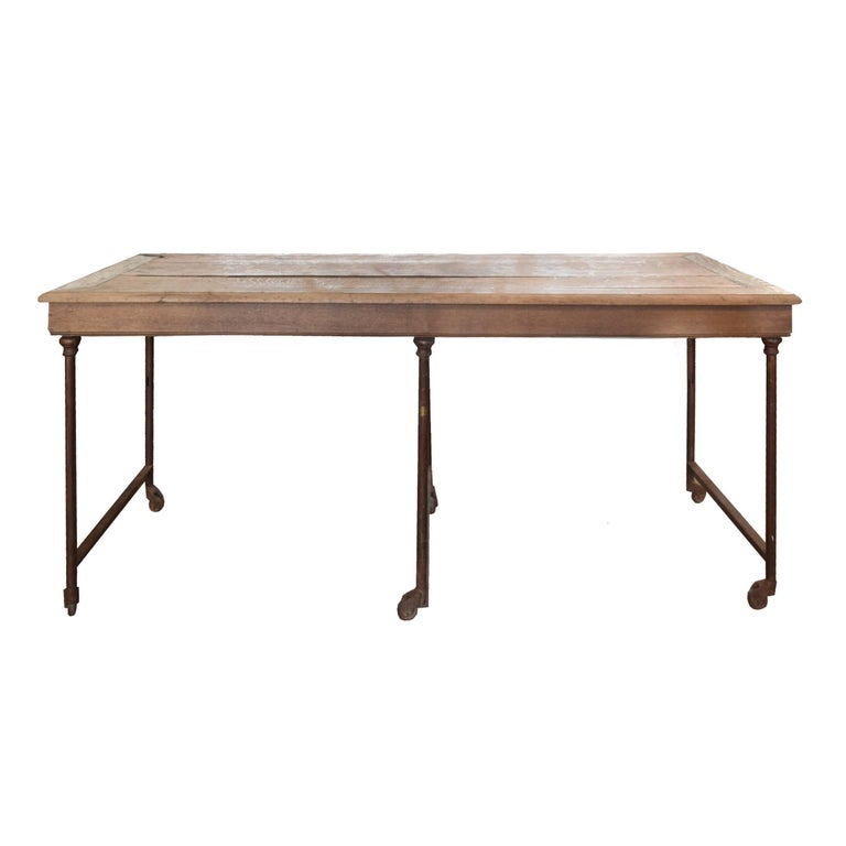 Théodore Scherf Oak and Metal Table