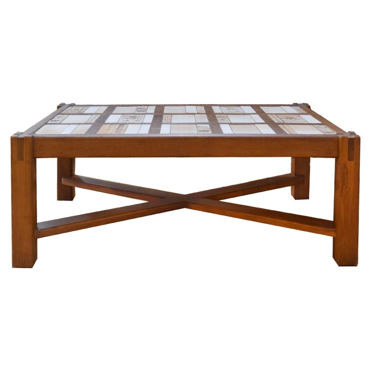 French Tile and Wood Coffee Table