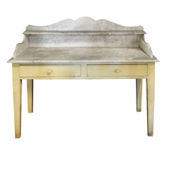 French Wood and Marble Baker's Table