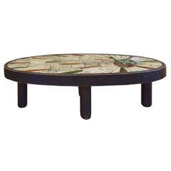 French Midcentury Wood and Tile Table by Barrois for Vallauris