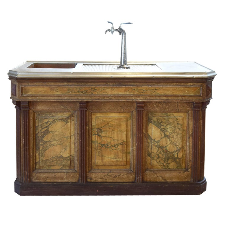 French Cafe Bar With Beer Taps And Zinc Top For Sale At