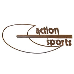 """French Wrought Iron """"Action Sports"""" Sign"""