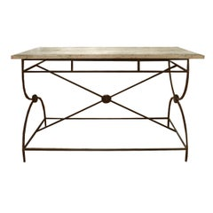 French Travertine Top Table