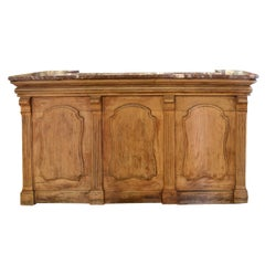 French Oak and Marble Desk or Bar