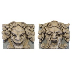 American Pair of Terra Cotta Comedy and Tragedy Panels