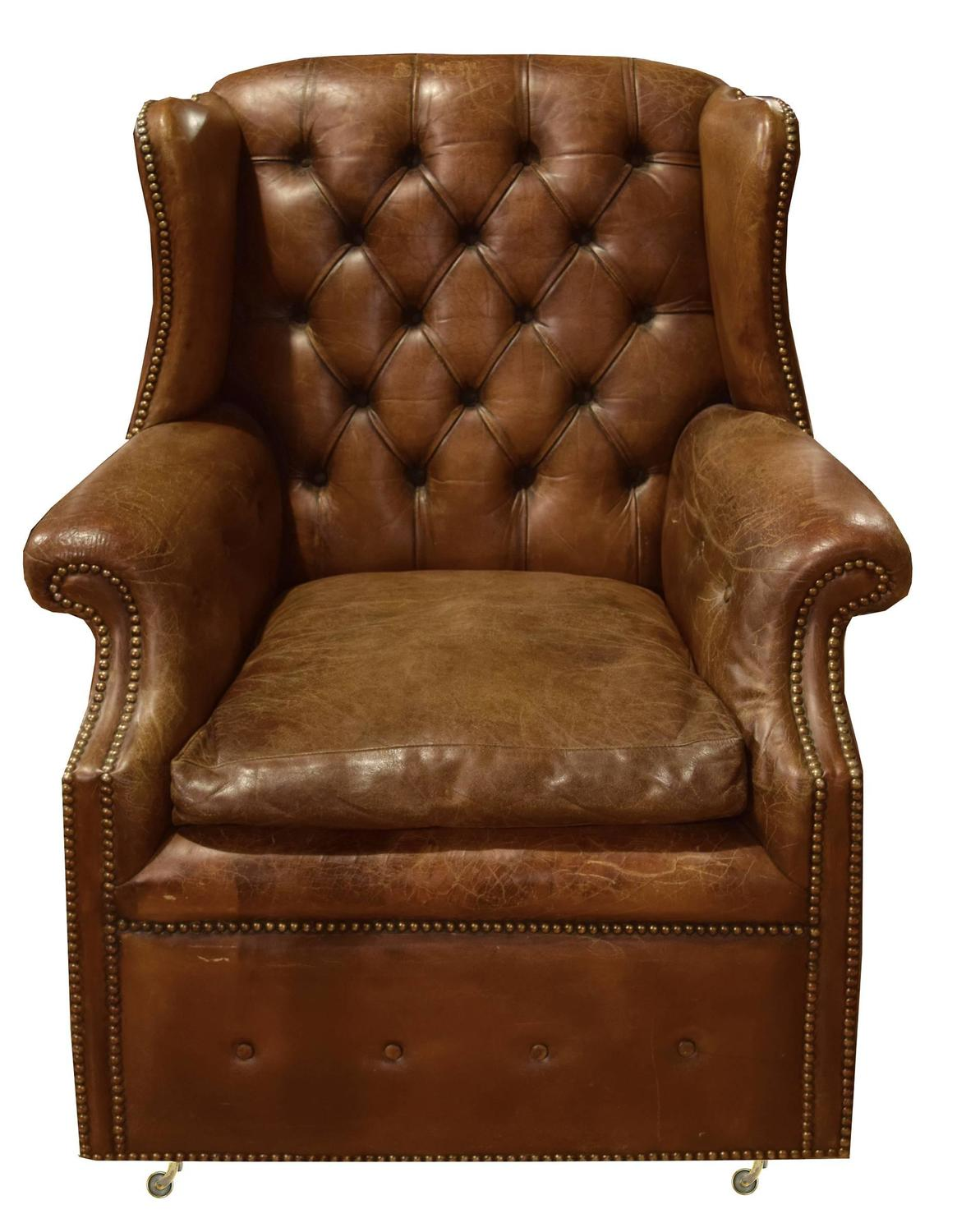 Italian tufted leather wing chair for sale at 1stdibs for Leather wingback recliner sale