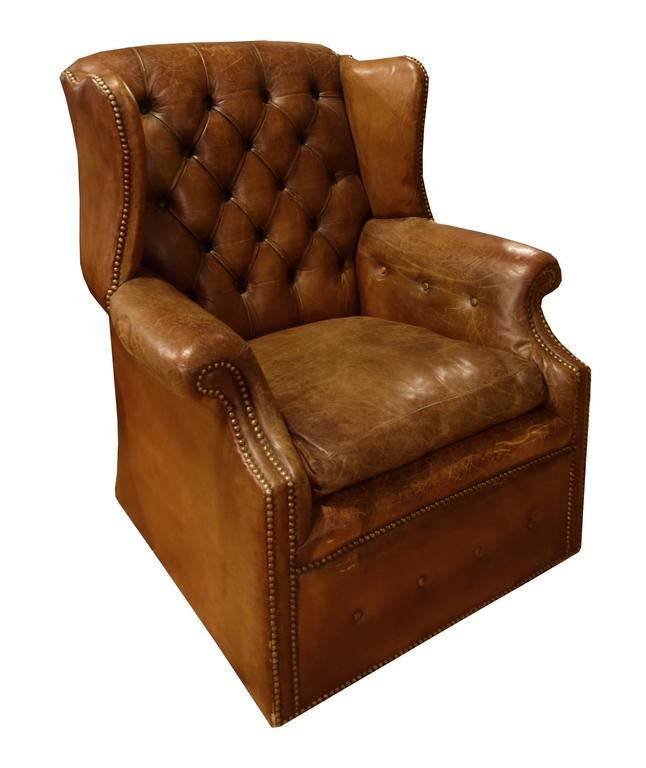 Red Leather Wingback Chair For Sale: Italian Tufted Leather Wing Chair For Sale At 1stdibs