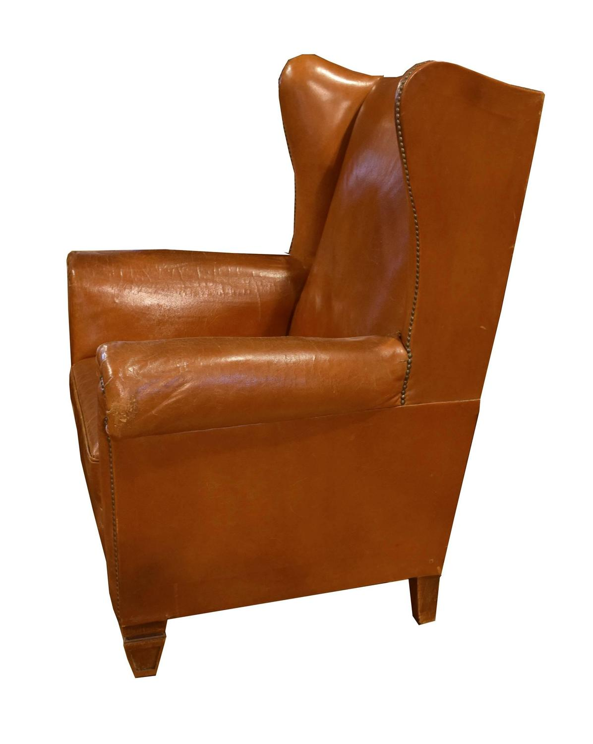 Italian Leather Wingback Chair For Sale at 1stdibs