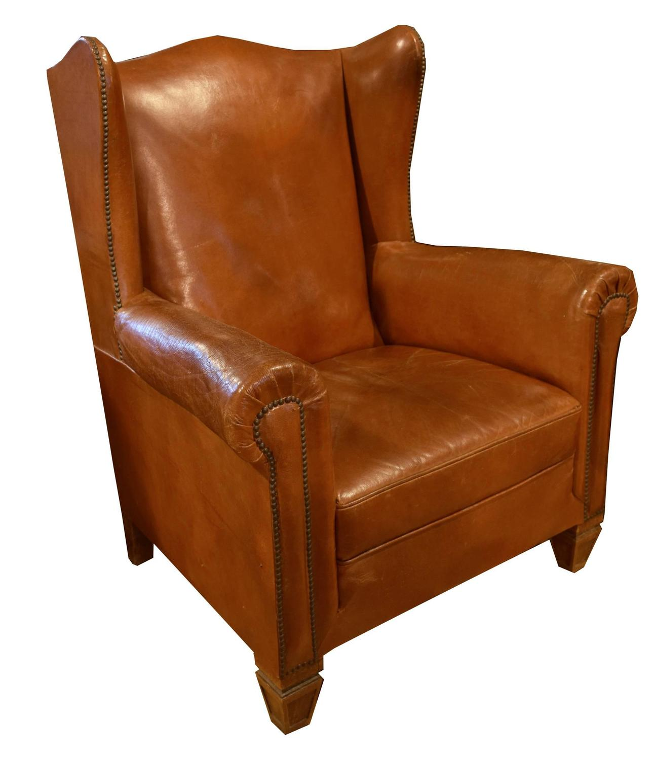 Italian leather wingback chair for sale at 1stdibs for Leather wingback recliner sale
