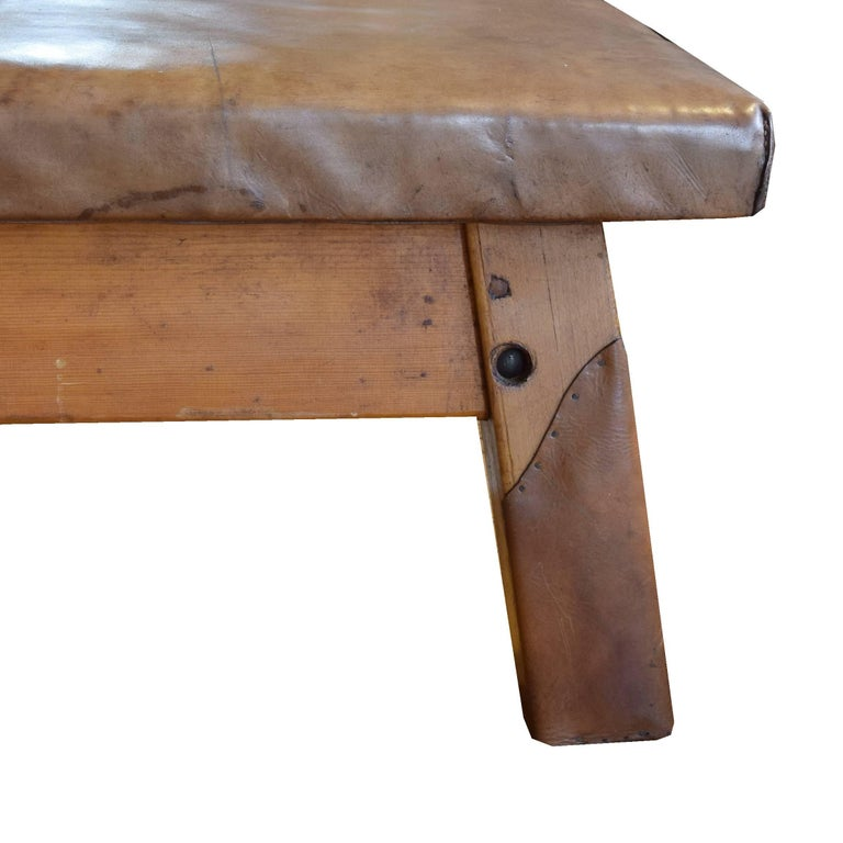 20th Century Wood and Leather Vaulting Bench For Sale