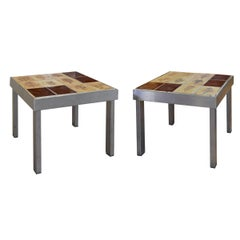 Pair of French Midcentury Steel and Tile Tables by Roger Capron