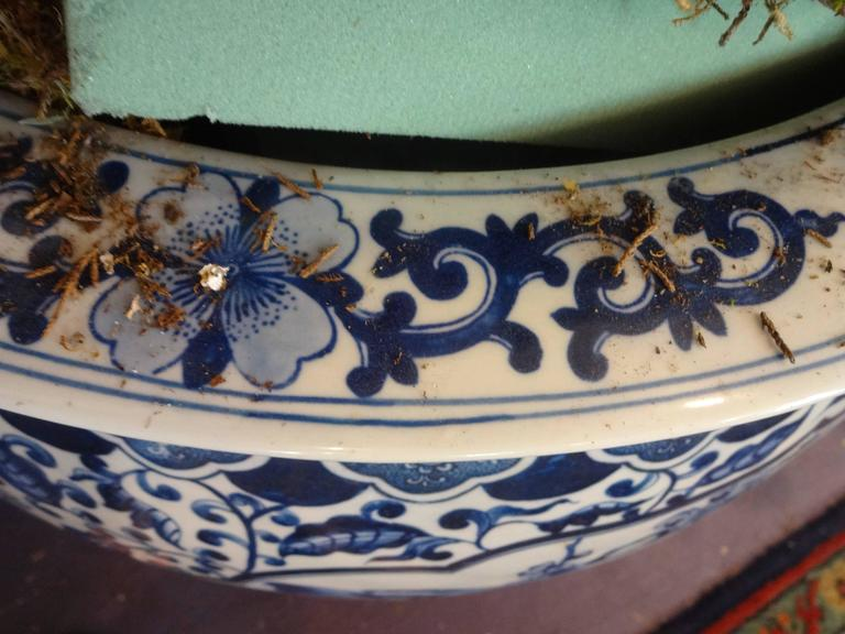 Pair Of Extra Large Blue And White Chinese Fish Bowls And Planters