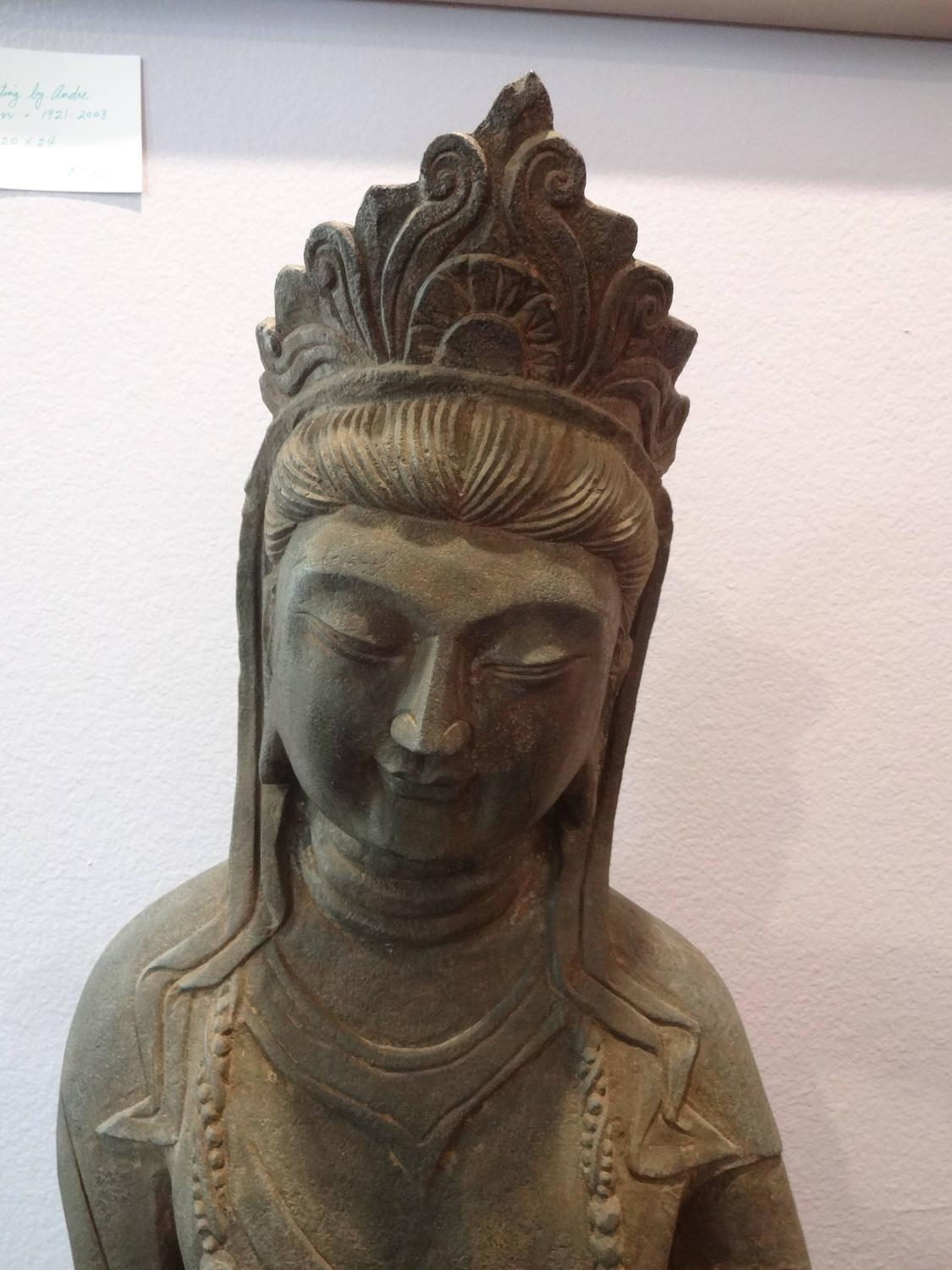 Chinese carved stone guan yin statue at stdibs